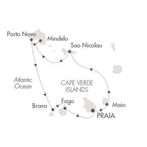 HONEYMOON Ponant Yacht Le Ponant Cruise Map Detail Praia, Cape Verde to Praia, Cape Verde November 12-19 2023 - 7 Days