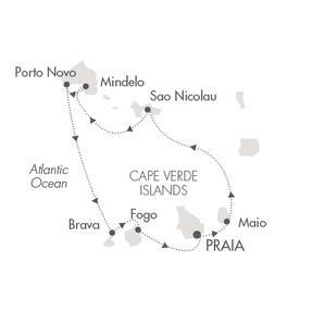 HONEYMOON Ponant Yacht Le Ponant Cruise Map Detail Praia, Cape Verde to Praia, Cape Verde November 19-26 2020 - 7 Days