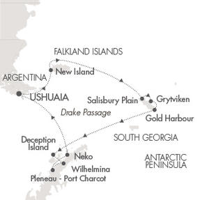 Singles Cruise - Balconies-Suites Ponant Yacht Le Soleal Cruise Map Detail Ushuaia, Argentina to Ushuaia, Argentina December 19 2019 January 4 2020 - 16 Days