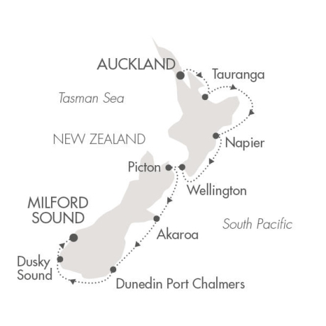 Singles Cruise - Balconies-Suites Ponant Yacht Le Soleal Cruise Map Detail Auckland, New Zealand to Milford Sound, New Zealand January 22-31 2019 - 9 Days