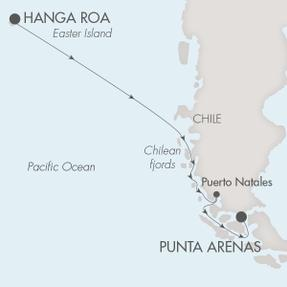 SINGLE Cruise - Balconies-Suites Ponant Yacht Le Soleal Cruise Map Detail Hanga Roa, Chile to Punta Arenas, Chile October 19-29 2019 - 10 Nights
