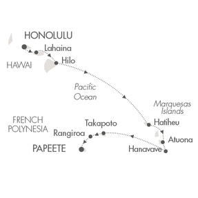 SINGLE Cruise - Balconies-Suites Ponant Yacht Le Soleal Cruise Map Detail Honolulu, HI, United States to Papeete, French Polynesia September 12-26 2019 - 14 Nights