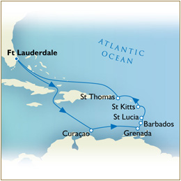 7 Seas Cruises Luxury Map - Fort Lauderdale to Fort Lauderdale