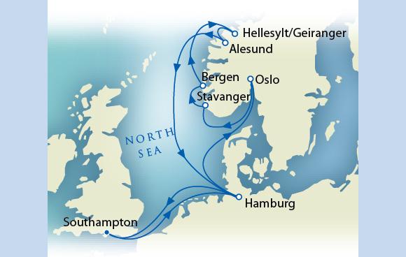 7 Seas LUXURY Cruise Schedule Map - August 5-17 Cunard Southampton to Southampton