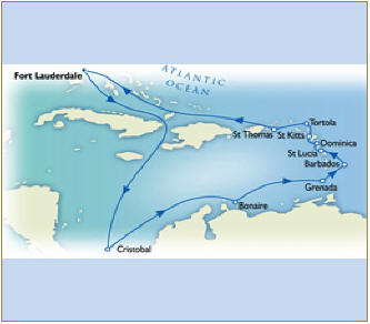 7 Seas LUXURY Cruise Map - Fort Lauderdale to Fort Lauderdale