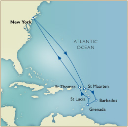 Luxury Cruises Single Map - New York to New York