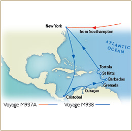7 Seas Cruises Luxury Map - Southampton to New York