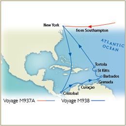 Luxury Cruises SINGLE/SOLO Map - Southampton to New York