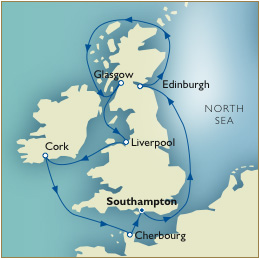 7 Seas LUXURY Cruise Map - Southampton to Southampton