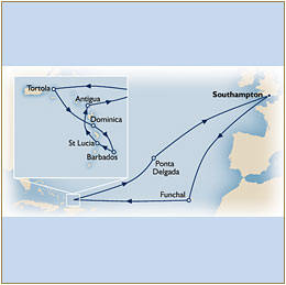 CRUISE Cunard Queen Elizabeth The Cunard map Queen Elizabeth QE 2020 Southampton to Southampton