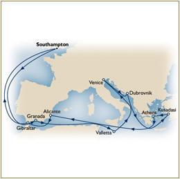 Cunard Queen Elizabeth Cunard QE Queen Elizabeth ASK FOR DEALS Map Cunard QE Cruise QE 2010 Southampton to Southampton