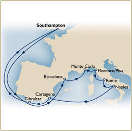 Luxury Cruise SINGLE/SOLO Map Cunard Queen Elizabeth QE 2019 Southampton to Southampton