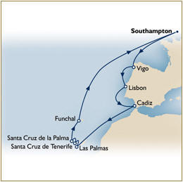 HOME CUNARD HOME - Map Cunard QE Cruise QE 2010 Southampton to Southampton