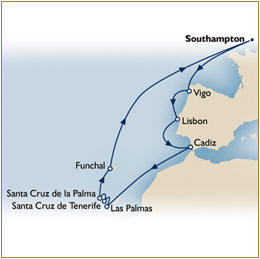 INFORMATIONS/DEALS - Map Cunard Queen Elizabeth QE Southampton to Southampton