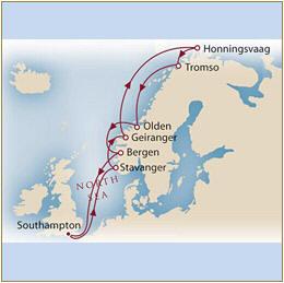 Map Cunard Queens Grill Mary 2 Qm 2 2025 Southampton to Southampton