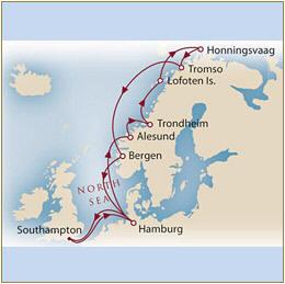CUNARD Map Cunard Queen Mary 2 QM2 2030 Southampton to Southampton