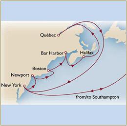 Map Cunard QueenMary 2 Qm 2 2010 Southampton to Southampton