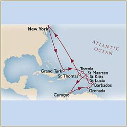 Map Cunard QueenMary 2 Qm 2 2010 New York to New York