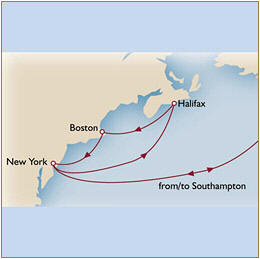 CUNARD Map Cunard Queen Mary 2 QM2 2030 Southampton to Southampton