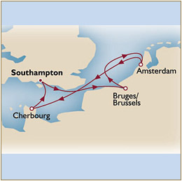 Map Cunard Queen Mary 2 QM2 2030 Southampton to Southampton
