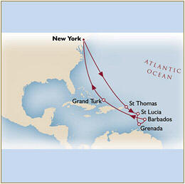 Map Cunard Queen Mary 2 QM2 2030 New York to New York