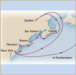 CUNARD Map Cunard Queen Mary 2 QM2 2030 New York to Southampton