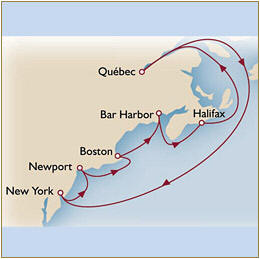 CUNARD Map Cunard Queen Mary 2 QM2 2030 New York to New York