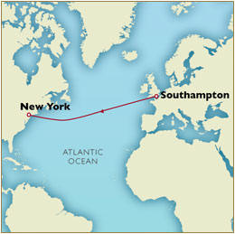 CUNARD Map Cunard Queen Mary 2 QM2 2030 Southampton to New York