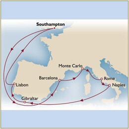 Map Cunard Queen Mary 2 QM2 2030 Southampton to Southampton