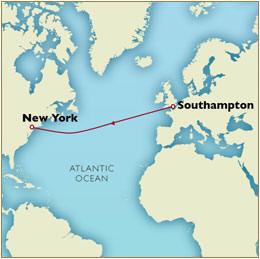 CUNARD Map Cunard Queen Mary 2 QM2 2030 Southampton to New York