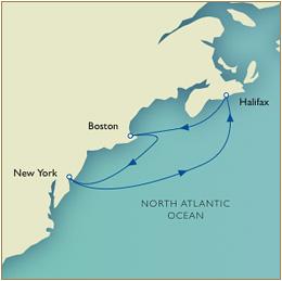 Luxury Cruises Single Map - New York to New York