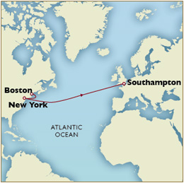 Luxury Cruises Single Map - Boston to Southampton