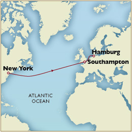 Luxury Cruises Single Map - New York to Hamburg