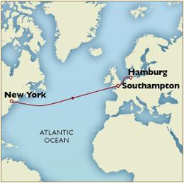 Luxury Cruises Single Map - New York to Hamburg