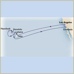 Map Cunard Queens Grill Victoria QV 2026 los angeles to los angeles