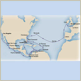 Map Cunard QueenVictoria QV Los angeles to southampton