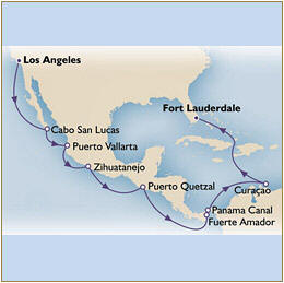 Map Cunard QueenVictoria QV Los angeles to Fort Lauderdale