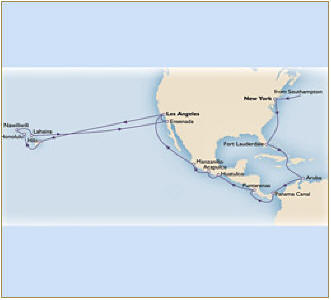 Luxury Map Cunnard Queen Victoria QV 2011 southampton to los angeles