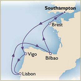 Deals - Map Cunard Queen Victoria QV 2024 Southampton to Southampton