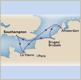 Map Cunard Queens Grill Victoria QV 2010 Southampton to Southampton