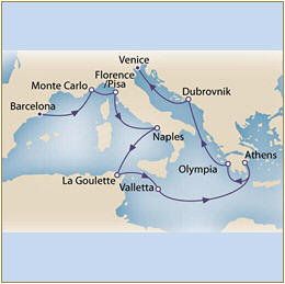 Map Cunard QueenVictoria QV 2010 Barcelona to Venice
