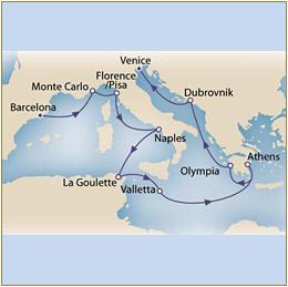 Map Cunard QueenVictoria QV 2010 Barcelona to Venice