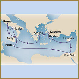 Deals - Map Cunard Queen Victoria QV 2024 Civitavecchia to Civitavecchia