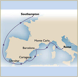 Deals - Map Cunard Queen Victoria QV 2024 Civitavecchia to Southampton