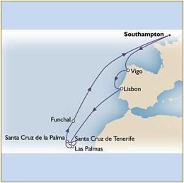 Deals - Map Cunard Queen Victoria QV 2024 Southampton to Southampton