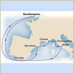7 Seas LUXURY Cruise Map Cunard Queen Victoria QV Southampton to Southampton