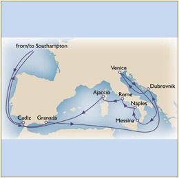 Deals - Map Cunard Queen Victoria QV 2010 Southampton to Southampton