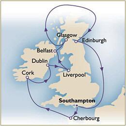 Croisieres de luxe Map Cunard Queen Victoria QV Southampton - Southampton