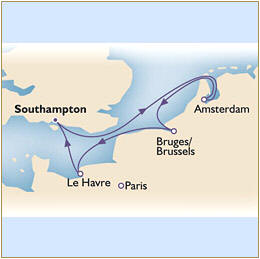 Map Cunard QueenVictoria QV 2010 Southampton to Southampton