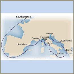 Map Cunard Queen Victoria QV 2020 Southampton to Venice